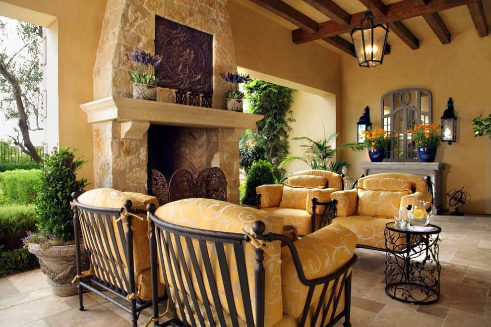 Highly Beautiful Elegant Tuscan Style Enclosed Patio Decorating Accessories Ideas Warm Decor