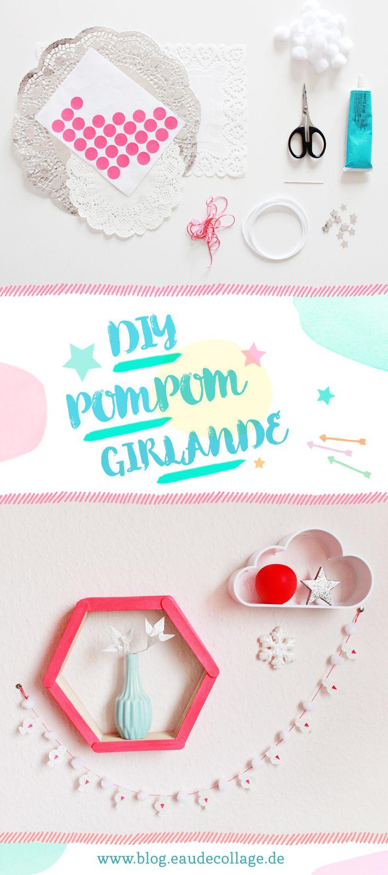 diy mini pompom girlande basteln diy blog eau de collage. Black Bedroom Furniture Sets. Home Design Ideas