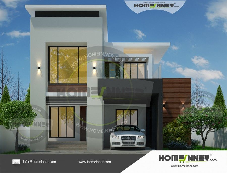 Two Story 1527 Sq Ft 3 Bedroom Modern House Plan Contemporary House Design Architectural House Plans Latest House Designs