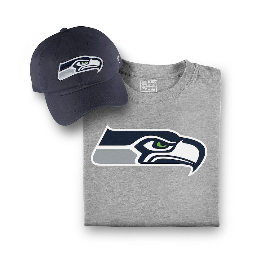 3dc2e13eb33ba Men s Seattle Seahawks NFL Pro Line by Fanatics Branded College Navy Gray  T-Shirt and Hat Bundle