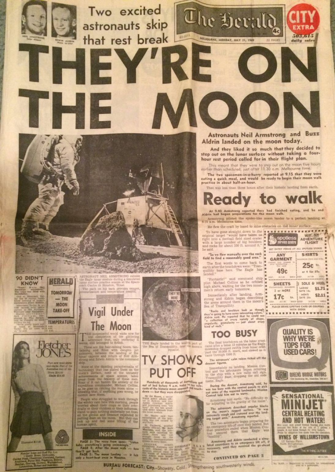 front page from an australian newspaper the day of the moon landing