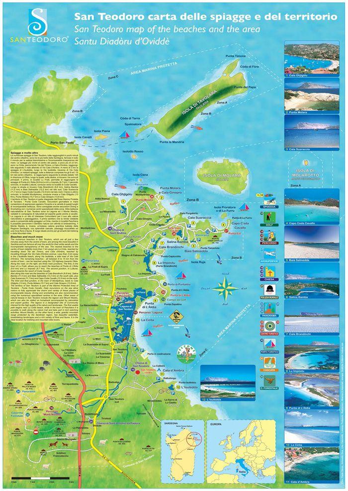 Cartina Spiagge Sardegna Nord.Spiagge San Teodoro Mappa E Foto Spiagge Viaggiare In Italia Viaggiare In Europa
