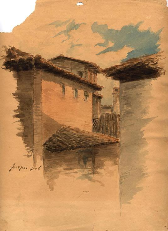 Vista de edificios y tejados. Según Katia Acín es una vista desde el edificio de la calle de las Cortes. Identificado y fechado en el ángulo inferior izquierdo: Huesca 1908.