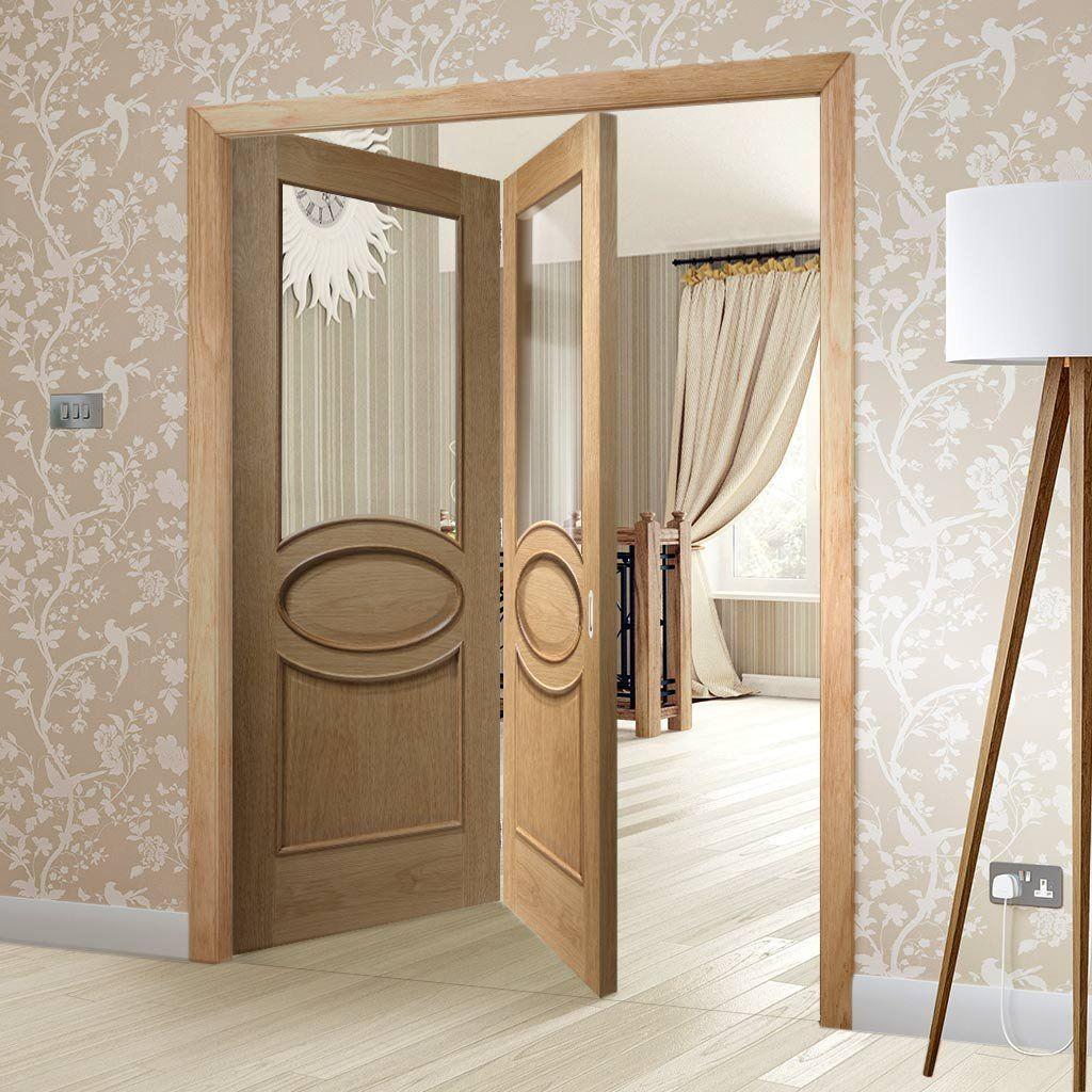 Bespoke Thrufold Piacenza Oak 1P Glazed Folding 2+0 Door with Groove ...