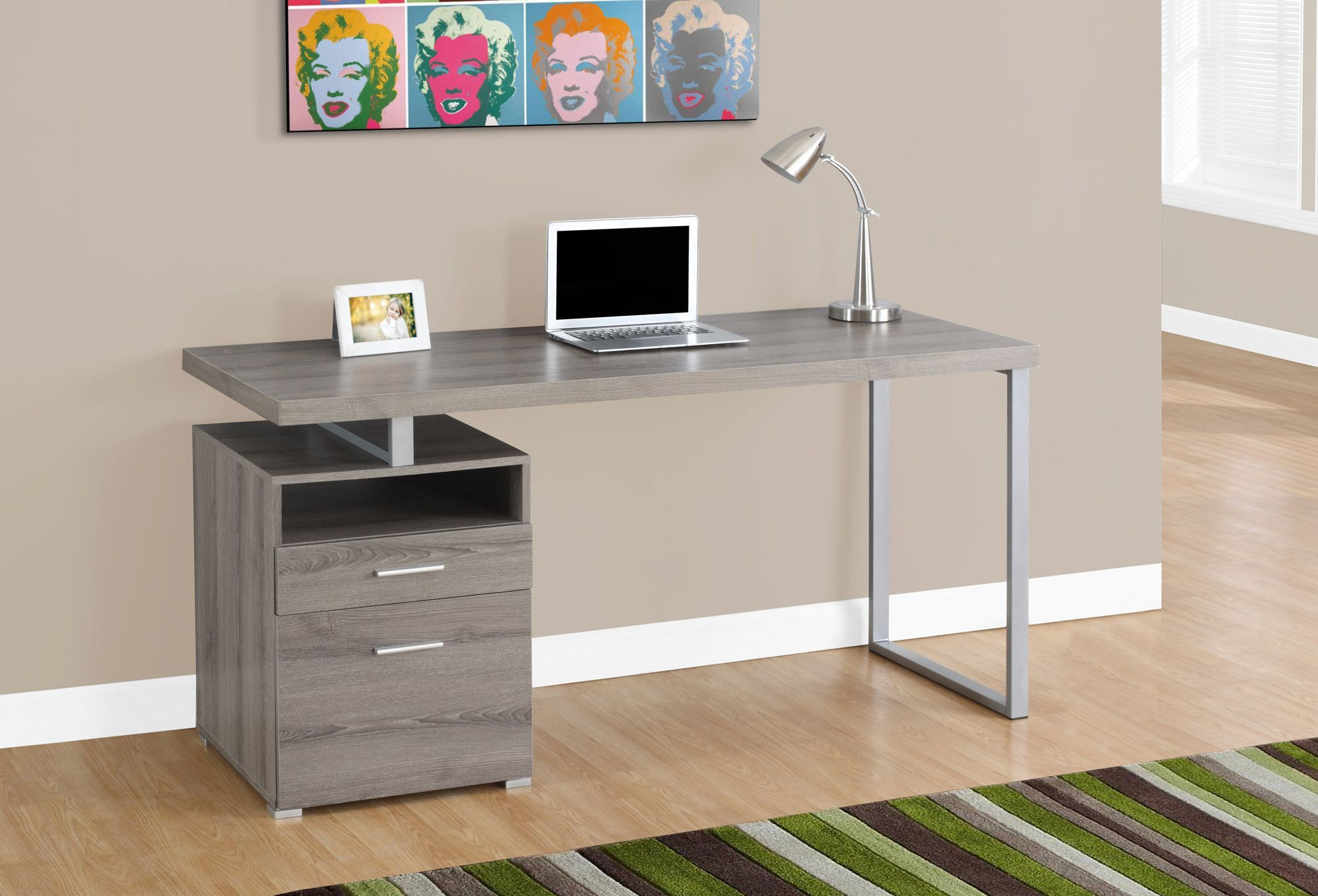 Modern 60 Single Pedestal Computer Desk In Dark Taupe Computer