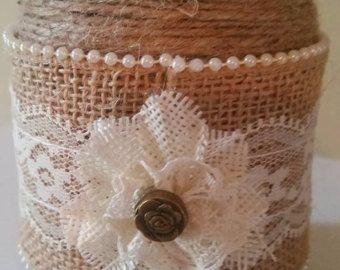 Burlap and lace mason jar candle holder Rustic by loveinamasonjar