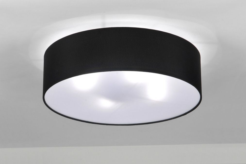 Plafondlamp 71388 modern metaal stof zwart rond Ideeën voor het - deckenlampen wohnzimmer modern