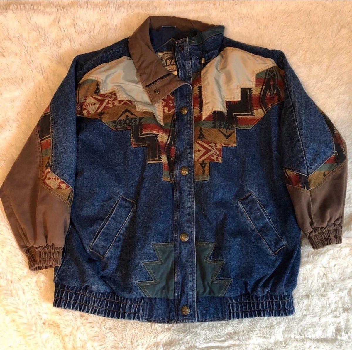 Izzi Vintage Southwestern Denim Bomber J On Mercari Denim Coat Vintage Denim Vintage Jacket [ 1192 x 1200 Pixel ]