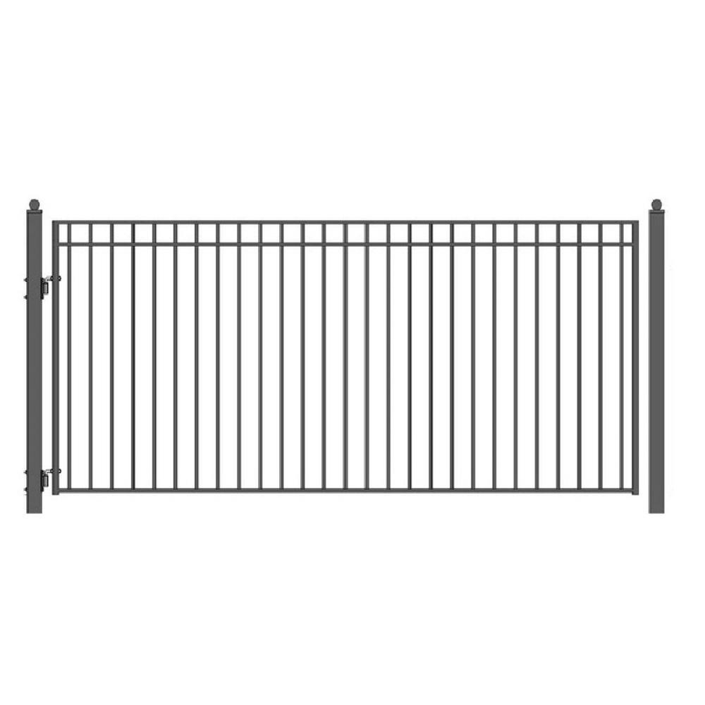 Aleko Madrid Style 14 Ft X 6 Ft Black Steel Single Swing Driveway Fence Gate Dg14madssw Hd The Home Depot In 2020 Driveway Fence Wrought Iron Gate Designs Decorative Screen Panels