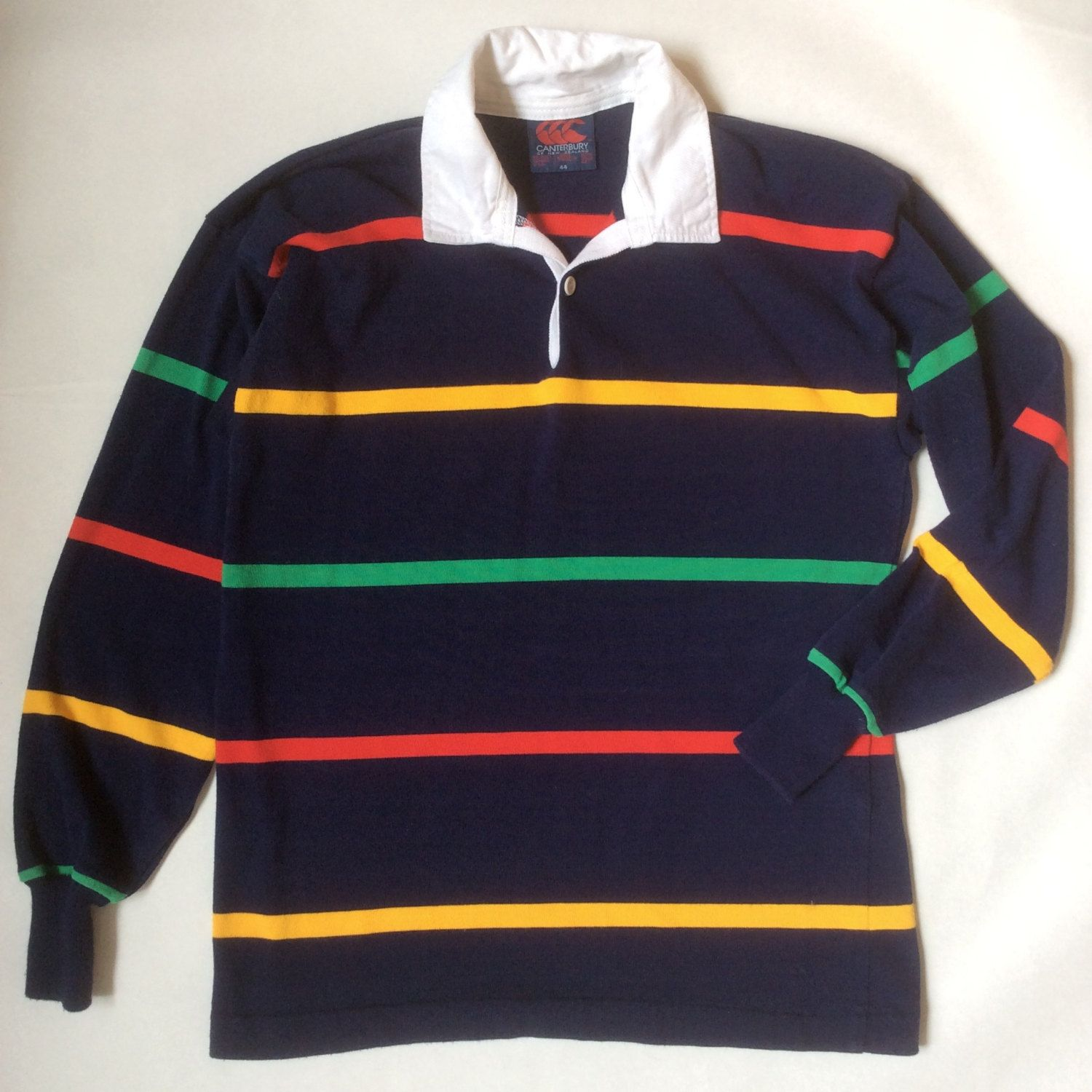 Men 39 S Rugby Shirt Navy Blue Striped In Primary Colors With White Collar Long Sleeve Men 39 S Medium Large 44 Mens Rugby Shirts Rugby Shirt Shirts