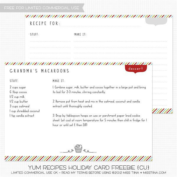 Printable Recipe Card With Editable Text