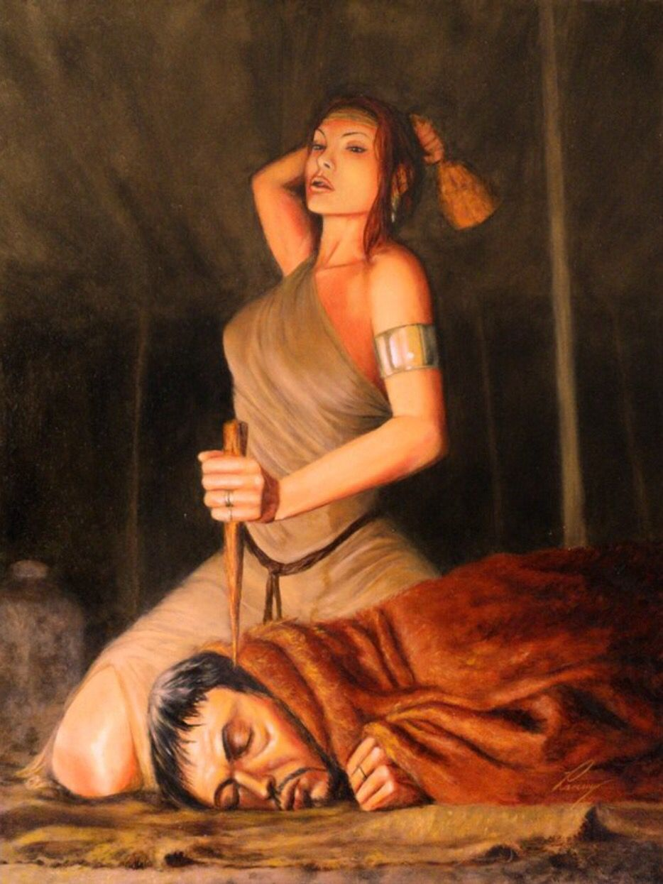 """Army chief, Sisera, dead at """"the hand of a woman,"""" Jael, as Deborah  foretold. (Judges 4:9-11, 17, 21-22)   Deborah in the bible, Bible art,  Bible illustrations"""