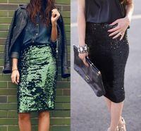 Sequined Lace Skirts Straight Skirt Knee Length Bling Bling Women Long Skirts 2015 High Fashion Skirt Hot Sale Cheap Skirt