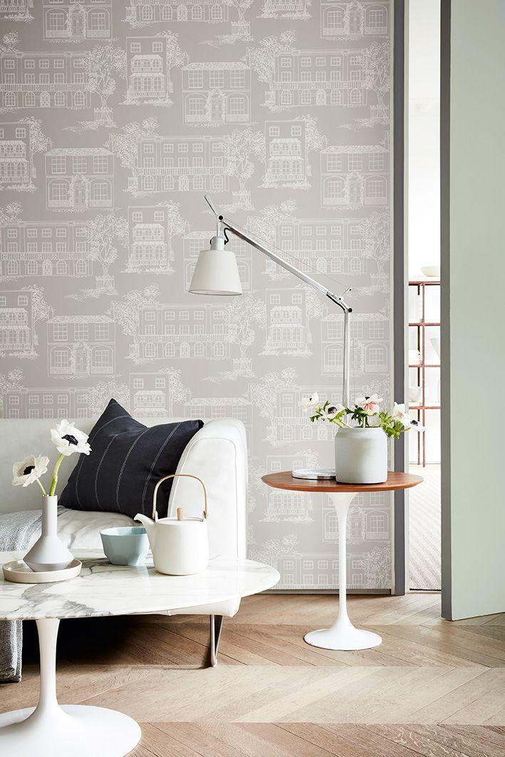Wallpaper: Hampstead U2013 Cool Grey Door Border: Dark Lead Colour 118 Door:  Pearl