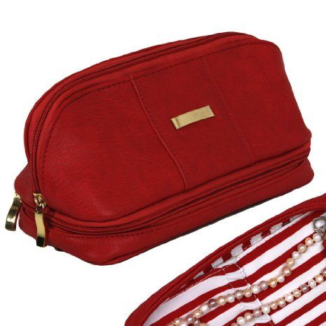 The Weekender - Personal Travel Makeup and Jewelry Case and Organizer with Matching Removable Mirror in Red and Pin Stripe Interior Lining: ...