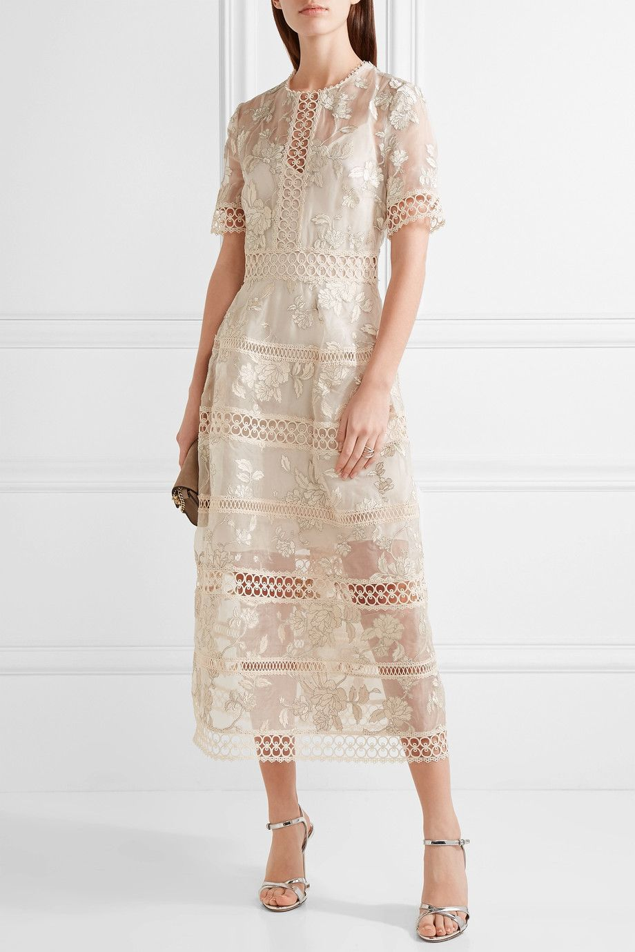 Zimmermann embroidered ruffle midi dress - Blanco mlEYh4H