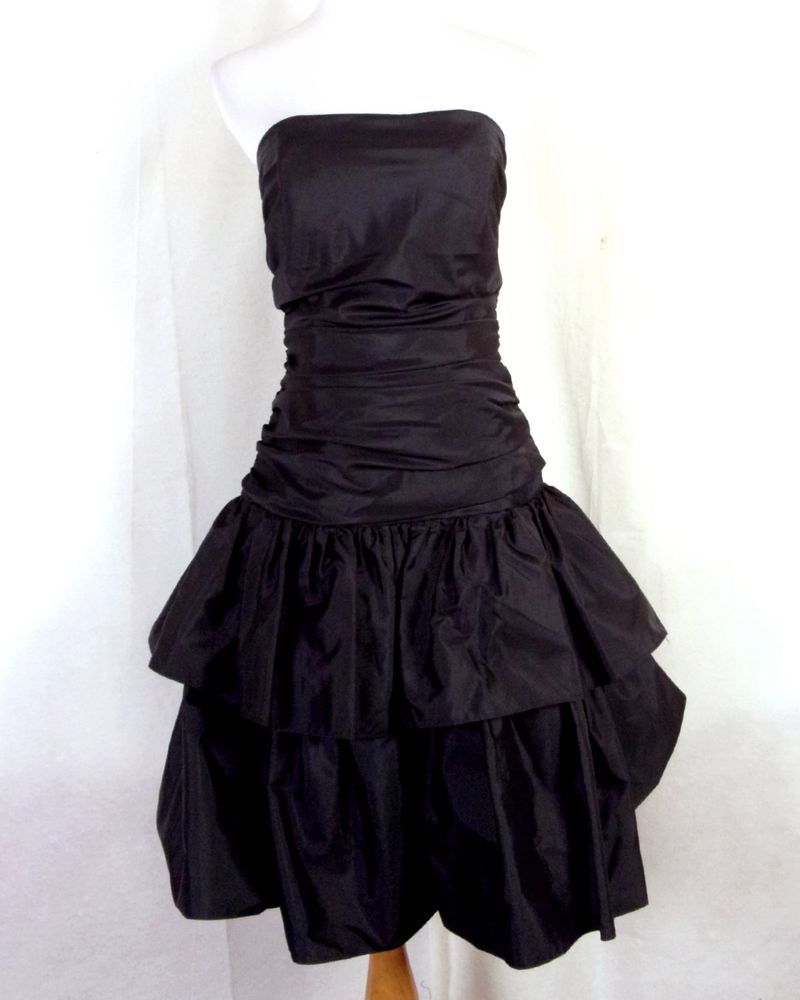 Vtg s retro shiny sleek black ruched strapless prom dress big bow