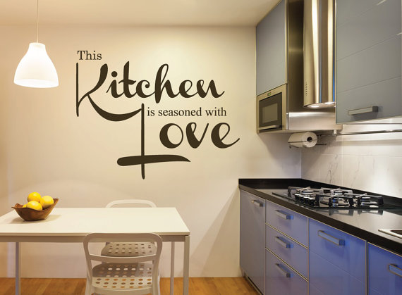 this kitchen is seasoned with love wall quote decal kitchen decals restaurant decoration on kitchen decor quotes wall decals id=26049