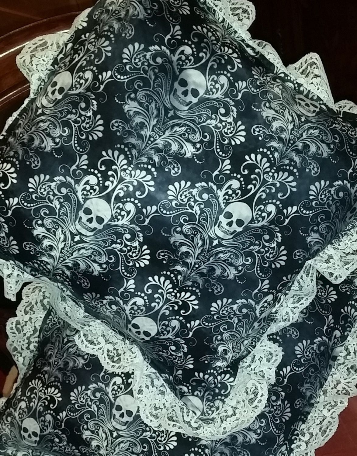 Skull and lace cushions by Quiltingadream on Etsy