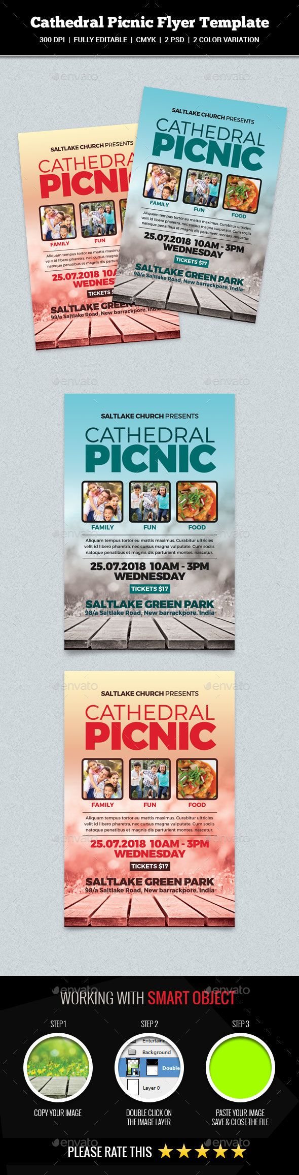 Cathedral Picnic Flyer  Church Flyers  Psd FlyerS  Print