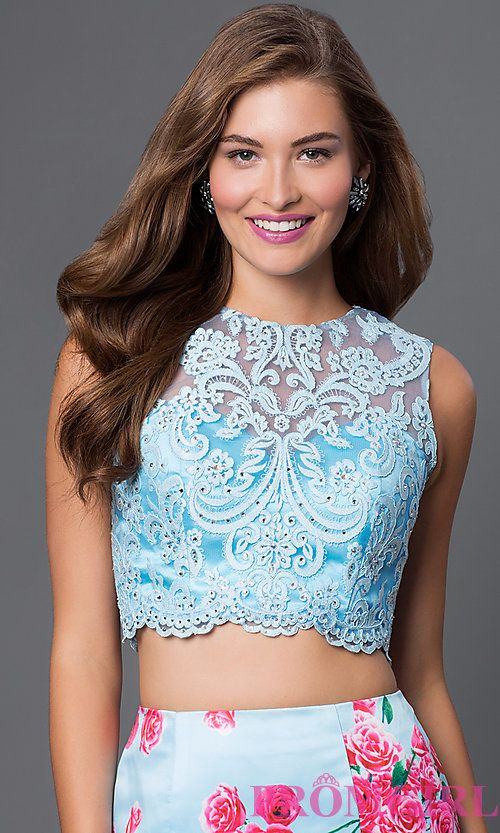 Image of floor length sleeveless lace top two piece print dress  Style: BL-PG011 Detail Image 1