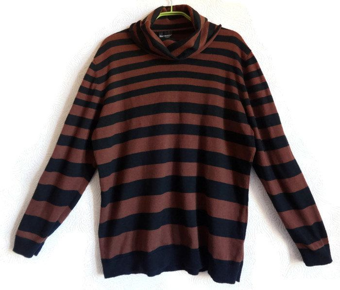 MARIMEKKO Cowl Neck Sweater Striped Jumper Dark Brown & Black ...