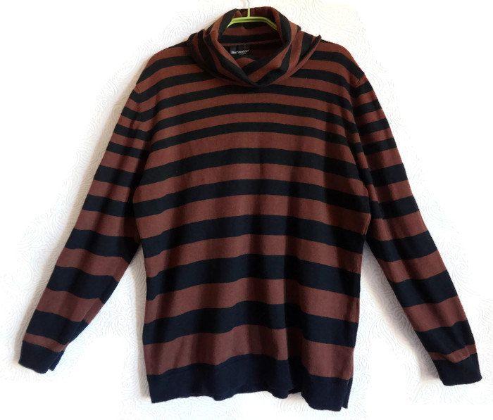 MARIMEKKO Cowl Neck Sweater Striped Jumper Dark Brown & Black ...
