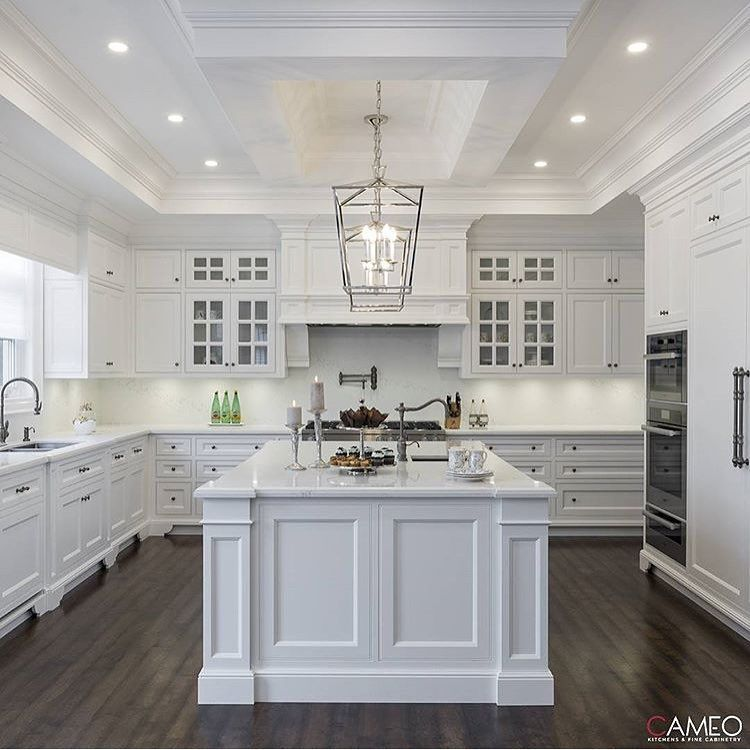 Great Ways For Lighting A Kitchen: Cupboards Go All The Way To The Ceiling. Great Crown