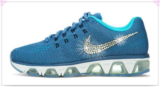 Over 70% Discount Off Popular 2017 Fashion glitter kicks Nike Air Max  Tailwind Crystallized Swarovski Swoosh Blue 2c34972f1b
