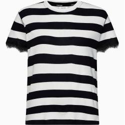Photo of Calvin Klein Gestreiftes Strick-T-Shirt mit Spitzenbesatz Xs Calvin KleinCalvin Klein
