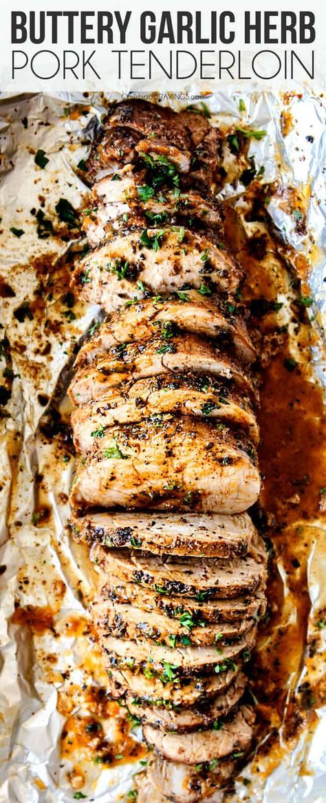 This Baked Pork Tenderloin is the BEST I've ever had! It's outrageously juicy, bursting with herb, garlic butter flavor and SO easy! Step by step photos, tips and tricks included! #pork #porkrecipes #porktenderloin #dinner #recipes #dinnerrecipes #dinnerideas #dinnertime #easydinner #easydinnerrecipes #easterrecipes #easter #meatrecipes