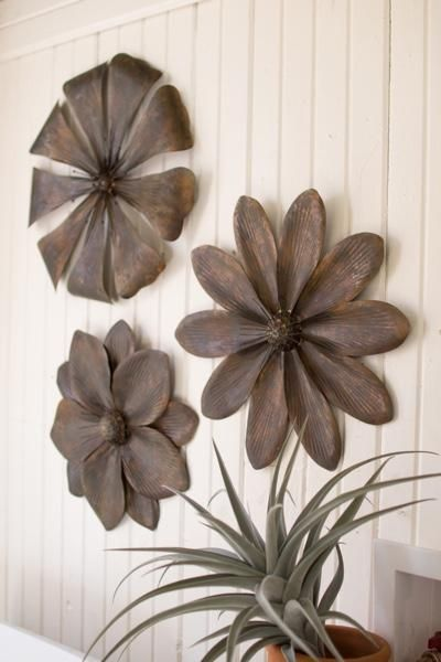 Metal Flower Wall Decor Set 3 Metal Flower Wall Decor Metal Wall Flowers Flower Wall Decor