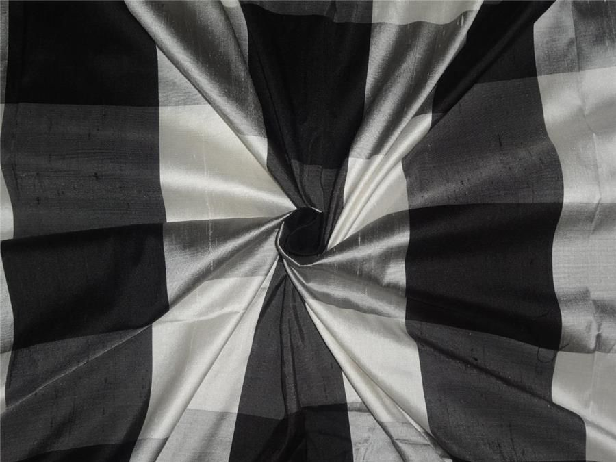 "SILK DUPIONI FABRIC 54"" BLACK,GREY,IVORY AND SILVER PLAIDS"