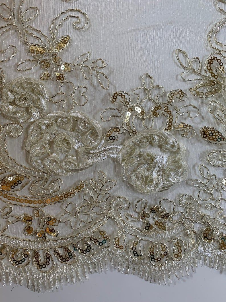10010 Ryleigh GOLD 3D Floral Embroidery with Foil /& Sequins on Mesh Lace Fabric by the Yard