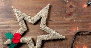 Estrella de hilo marrón para el árbol de navidad