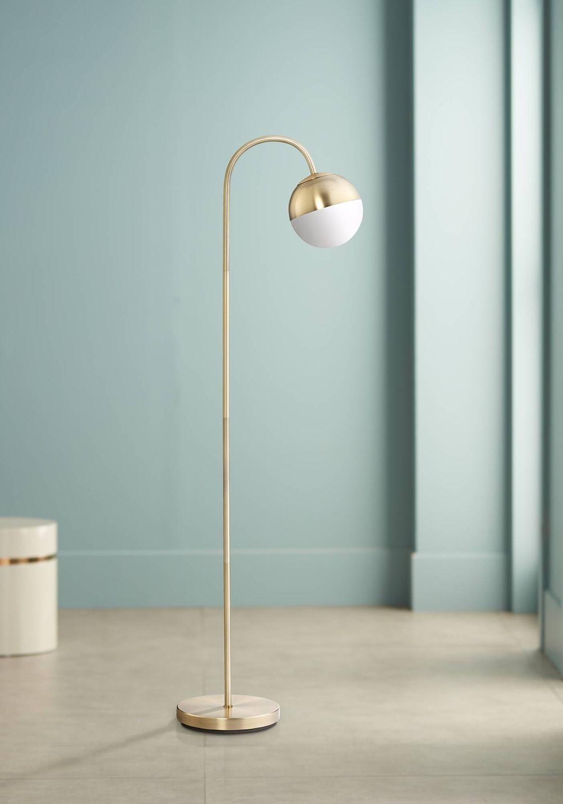 Mid Century Modern Floor Lamp Brass Round White Glass Globe For Living Room Ebay With Images Mid Century Modern Floor Lamps Modern Floor Lamps Brass Floor Lamp