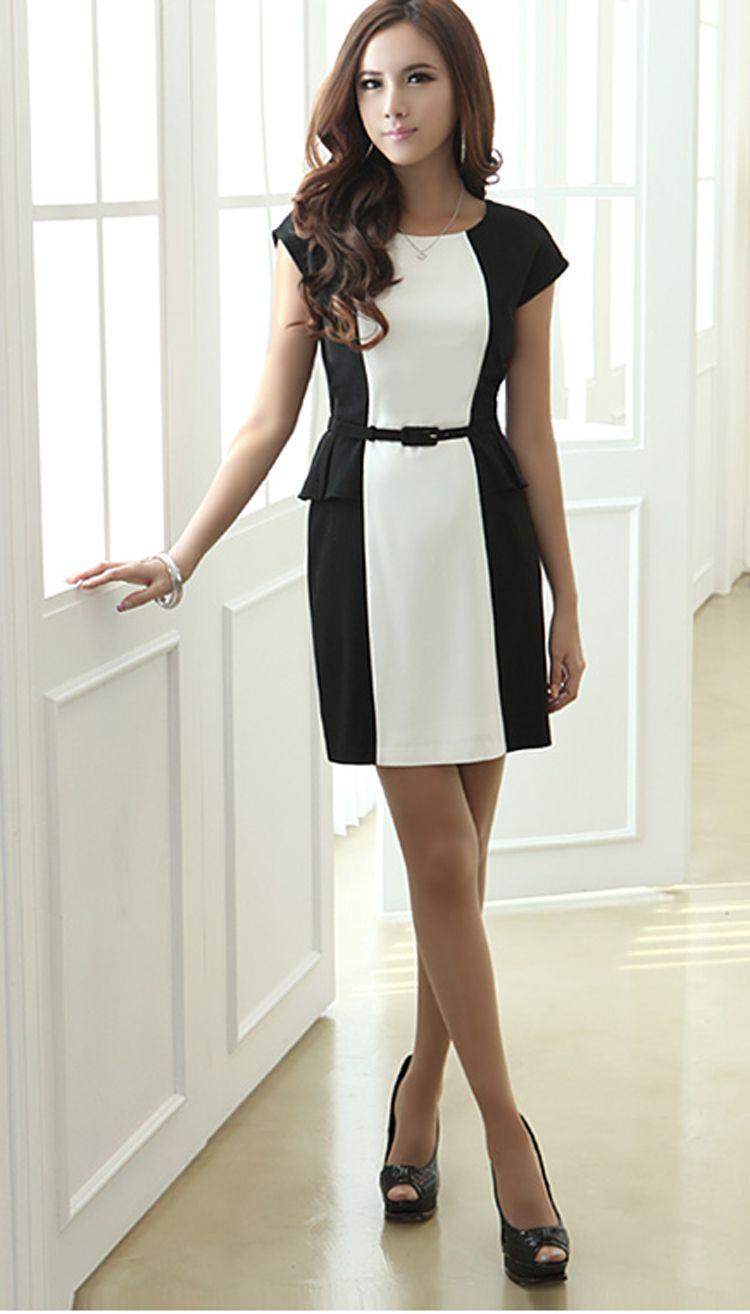 052a12866066 Vestido peplum preto e branco | vestido | Roupas femininas, Vestidos ...