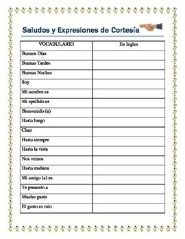 This worksheet package has a complete list of the Vocabulary needed to introduce Greetings and Expressions of Courtesy.  students will have a complete access to all the phrases they need to create a dialogue and begin Speaking in Spanish.  The package includes a worksheet for students to create their dialogue.