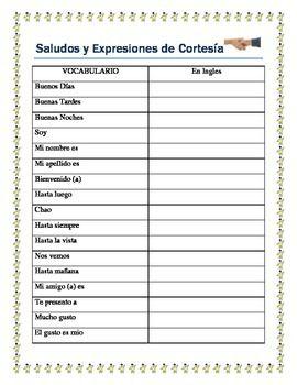 Back to School - Greetings- Saludos y Expresiones de Cortesia ...