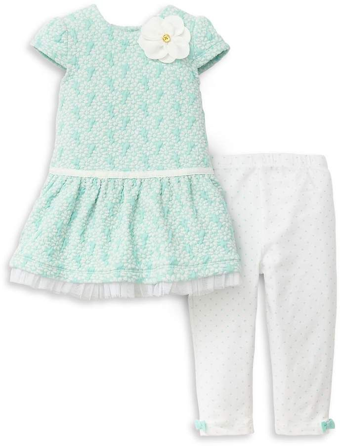 ccfdbe4fa Baby Girl s Two-Piece Floral Dress and Polka Dot Leggings Set  Dress ...