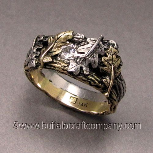 nature inspired twig ring set holmes cast from 14k white gold and hand leaf wedding - Leaf Wedding Ring