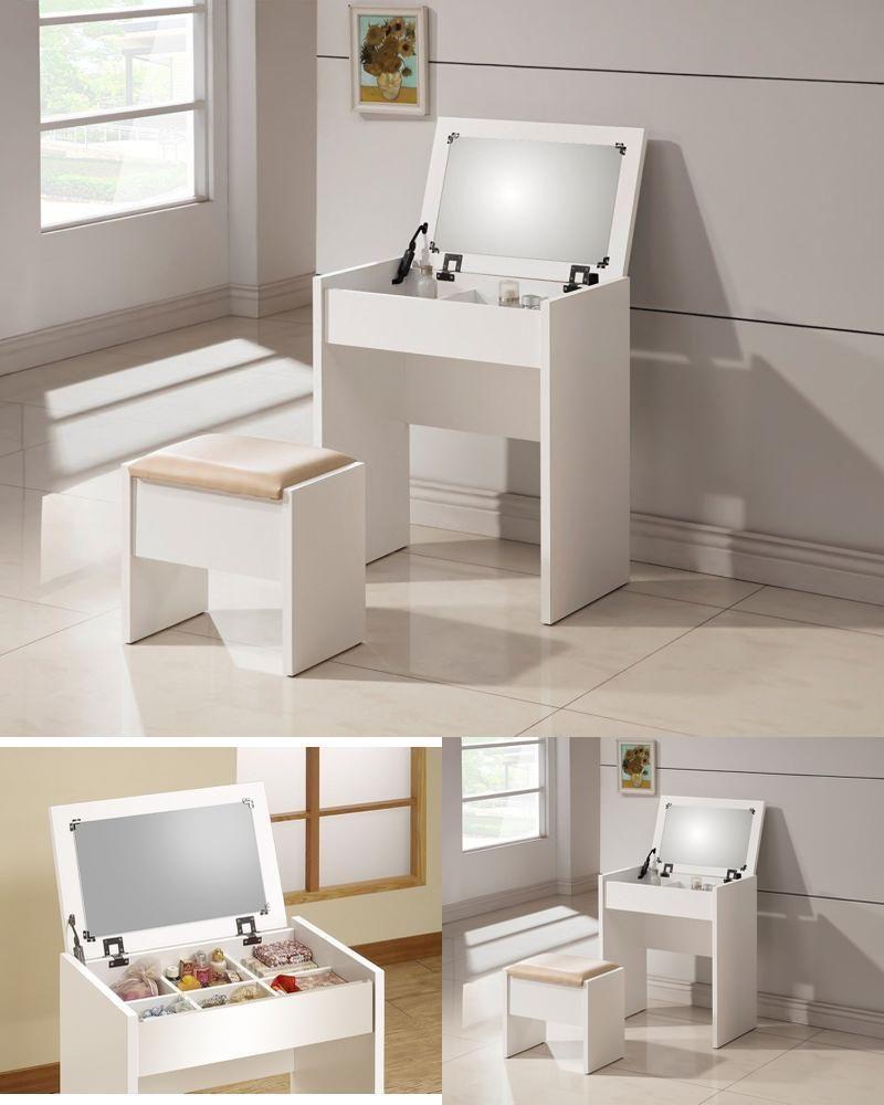 the latest 916e6 d829d Vanity Table Stool Dresser Makeup Mirror Foldable Top Large ...
