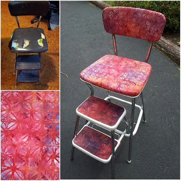 Trash To Treasure Cosco Vintage Step Stool Reupholster Need To