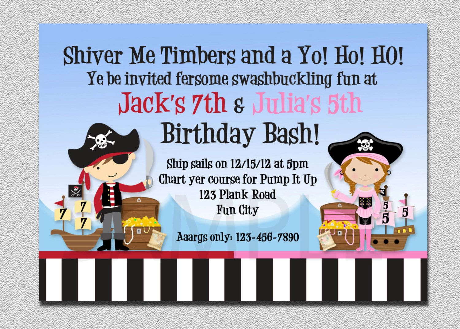 Pirate Birthday Invitation Twins Pirate by TheTrendyButterfly ...