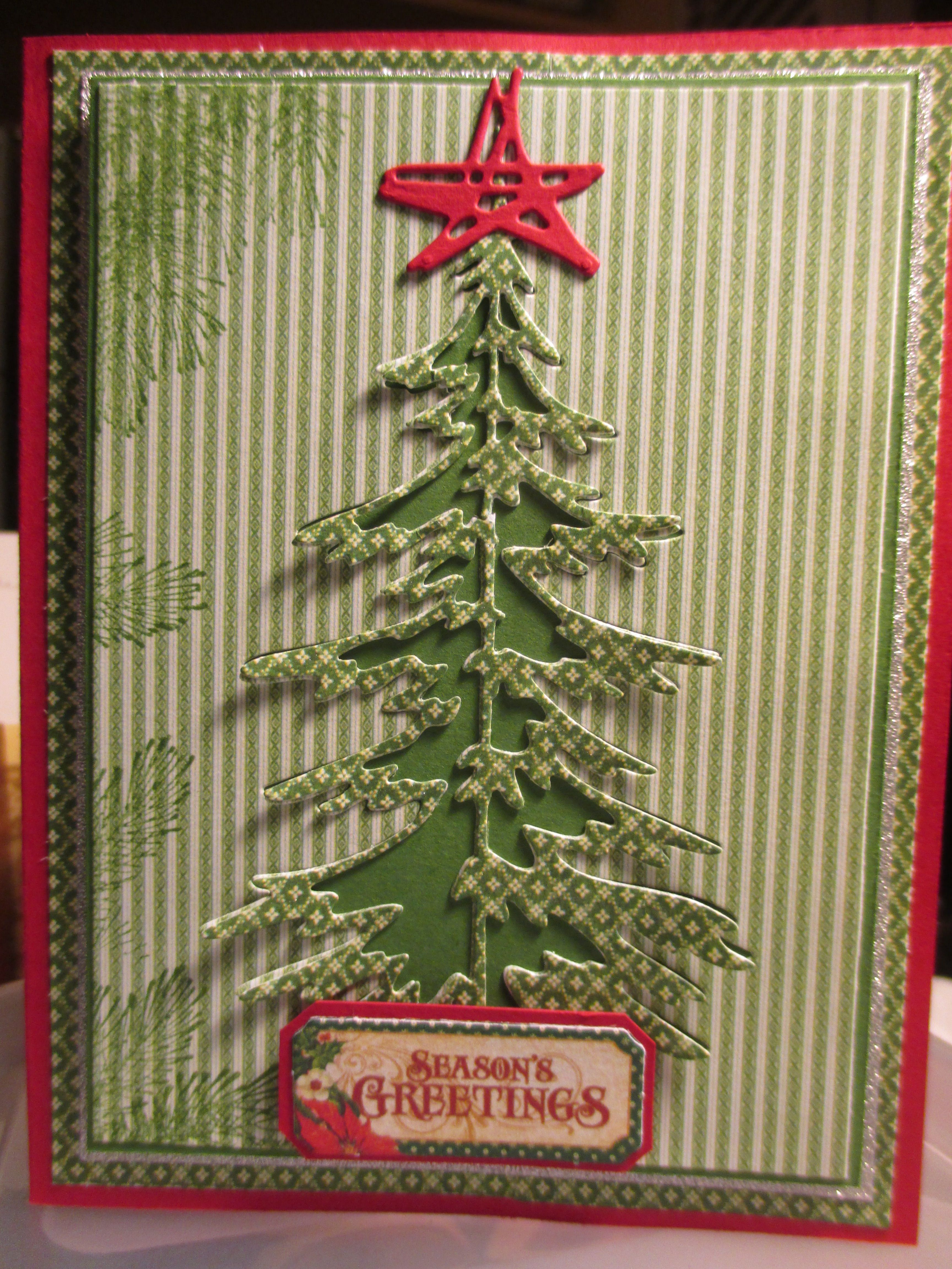 Tim Holtz Woodlands Tree Die Graphic 45 Papers Greeting 2016 Christmas Cards Handmade Christmas Holiday Cards Christmas Tree Cards