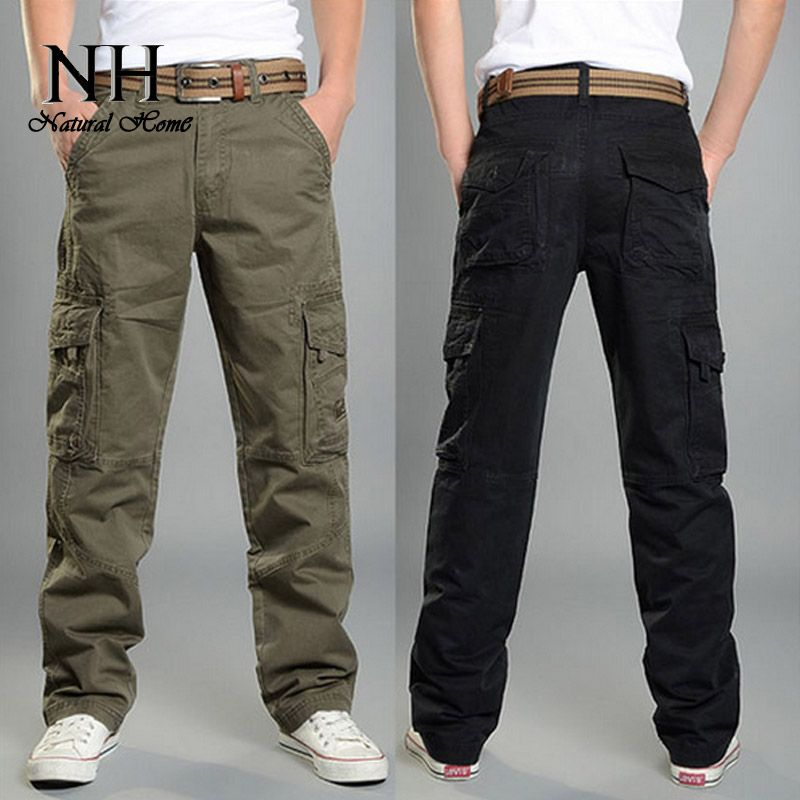 outdoor tactical army military black cargo pants men's sweatpants ...