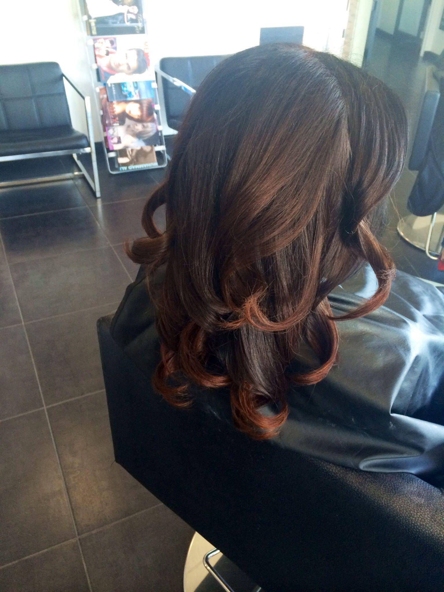 Subtle ombre blowout curls