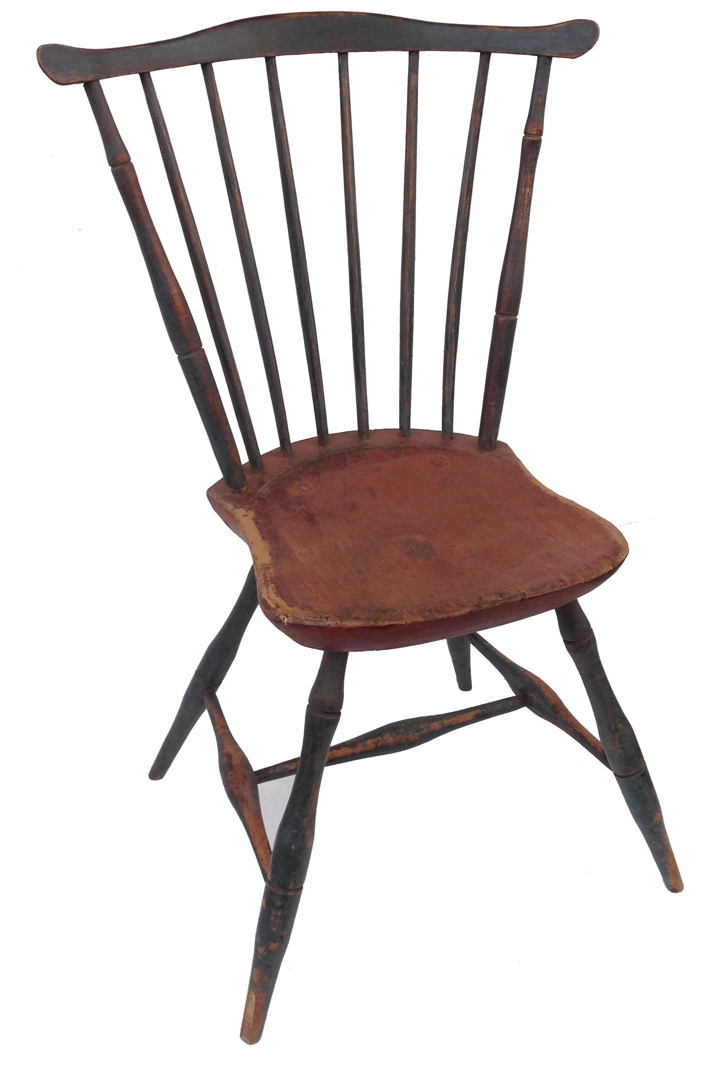 Early 19th Century New England Fan Back Windsor Chair With The Original Blue  And Red Paint