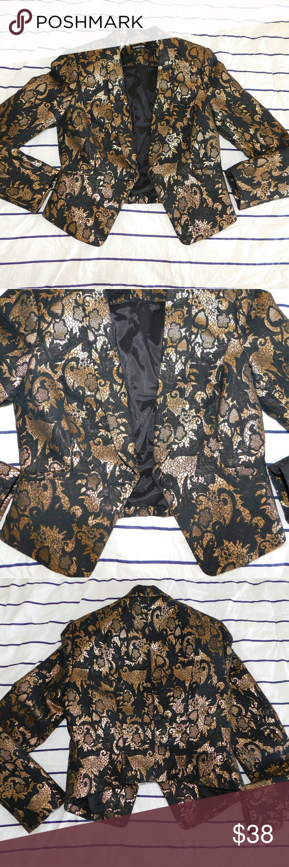 BEBE Black&Gold Jacquard Cropped High-Low Blazer In great conditon! Only minor flaw is the deodorant stains on the lining (see last image). But that can be easily removed when dry cleaned. 53% cotton and 47% polyester. bebe Jackets & Coats Blazers