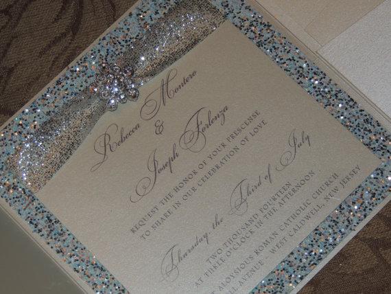 Glitter Brooch Pocket Wedding Invitation By MagicBeyondMidnight 925